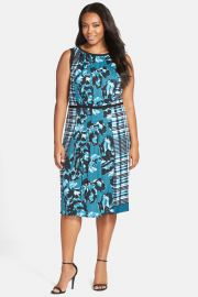Mixed Print Pleat Tie Waist Dress Plus Size at Nordstrom Rack