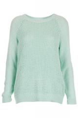 Mixed knit slouchy jumper at Topshop