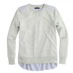 Mixed media sweater at J. Crew