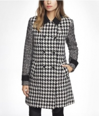 Mixed pattern swing coat at Express