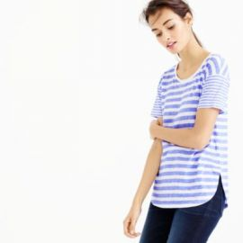 Mixed-stripe vintage cotton T-shirt with rounded hem at J. Crew