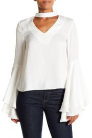 Mock-Neck Bell-Sleeve Blouse by Kendall  Kylie at Nordstrom Rack