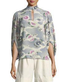 Mock-Neck Silk Kimono Blouse at Bergdorf Goodman
