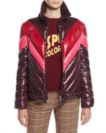 6538f85e3674 Moncler Albatros Tricolor Puffer Jacket w Knit Collar at Neiman Marcus