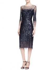 Monique Lhuillier 34-Sleeve Sequined Illusion-Trim Sheath Dress at Neiman Marcus
