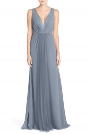Monique Lhuillier Bridesmaids Deep V-Neck Chiffon   Tulle Gown at Nordstrom