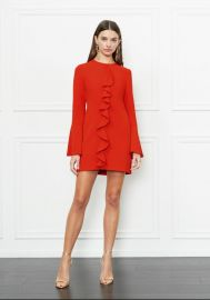 Monner Bell Sleeve Stretch-Crepe Mini Dress at Rachel Zoe