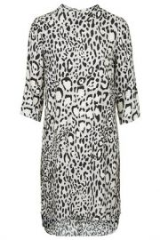 Monochrome Animal Print High Neck Dress at Topshop