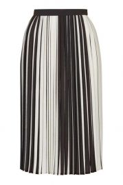 Monochrome Stripe Pleated Midi Skirt at Topshop