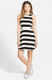 Monteau Couture Stripe Skater Dress at Nordstrom