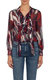 Mood Floral Silk Plisse Chiffon Blouse by Warm at Barneys