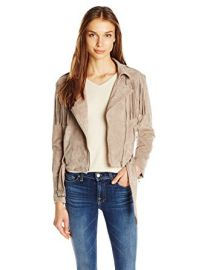 Moon River Suede Fringe Biker Jacket at Amazon