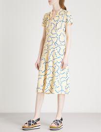 Morgan heart-print silk-satin midi dress at Selfridges