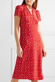 Morgan printed silk crepe de chine dress by HVN at Net A Porter