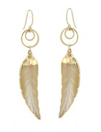 Mother Of Pearl Leaf Earrings at Peggy Li