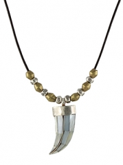 Mother of Pearl Horn Necklace at Peggy Li