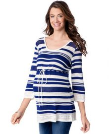 Motherhood Maternity Striped Babydoll Sweater at Macys