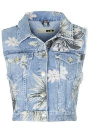 Moto Floral Sleeveless Jacket at Topshop