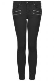 Moto Low Rise Zip Biker Jeans at Topshop