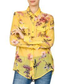 Moulin Jaune Sheer Floral-Print Silk Shirt by The Kooples at Bloomingdales