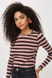 Multi Striped Lettuce Long Sleeve Top at Topshop