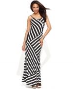 Multi directional striped maxi dress at Macys