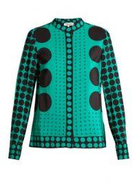 Multi polka-dot print silk crepe de Chine blouse at Matches