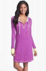 Munki Munki Hooded Henley Sleep Shirt in purple at Nordstrom