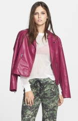 Mural Quilted Shoulder Faux Leather Moto Jacket in purple at Nordstrom