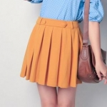 Mustard pleated skirt at Yes Style