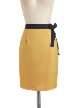 Mustard yellow bow skirt at Modcloth