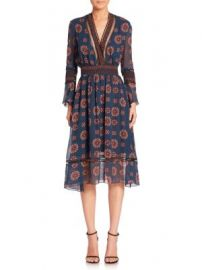 NICHOLAS - Printed Ruffle Silk Dress at Saks Off 5th