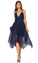 NICHOLAS Geo Floral Lace Ball Dress in Navy from Revolve com at Revolve