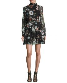 NICHOLAS Vintage Floral High-Neck Mini Dress at Neiman Marcus