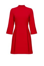 NICOLE MILLER RED ARTELIER MOCK NECK DRESS at Rent The Runway