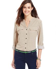 NY Collection Polka-Dot Roll-Tab-Sleeve Button-Down Shirt - Women - Macys at Macys