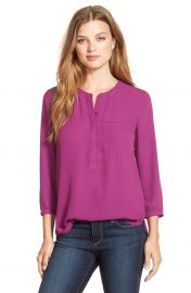 NYDJ Henley Blouse in Violet at Nordstrom