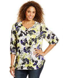 NYDJ Plus Size Printed Blouse at Macys