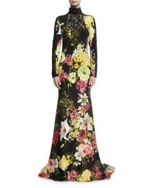 Naeem Khan Floral-Print Long-Sleeve High-Neck Gown  Black at Neiman Marcus
