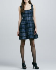 Nanette Lepore Dazzling Shiny Plaid Dress at Neiman Marcus