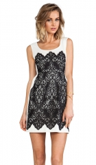 Nanette Lepore Kissing Booth lace Dress in Ivory and Black  REVOLVE at Revolve