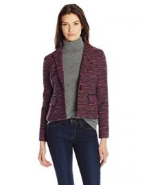 Nanette Lepore Womenand39s Interwoven Striped Tweed Jacket at Amazon