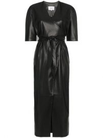 Nanushka Penelope V-neck Wrap Faux Leather Dress at Farfetch