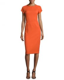 Narciso Rodriguez Cap-Sleeve Round-Neck Crepe Dress at Neiman Marcus