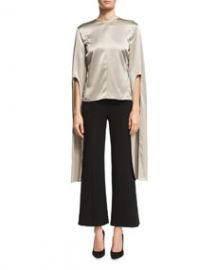 Narciso Rodriguez Silk Satin Cape-Sleeve Top at Bergdorf Goodman