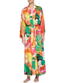 Natori Garbo Printed Long Robe  Multicolor at Neiman Marcus
