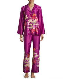 Natori Imperial Floral-Embroidery Pajama Set  Purple Haze at Neiman Marcus