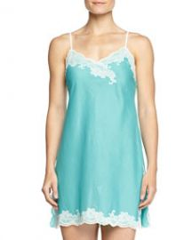 Natori Paradise Voile Lace-Trim Chemise Light Blue at Neiman Marcus