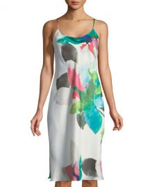 Natori Water Lily-Print Satin Nightgown at Neiman Marcus