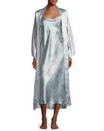 Natori Wisteria Floral-Print Silk Long Robe  Blue Pattern   Neiman at Neiman Marcus